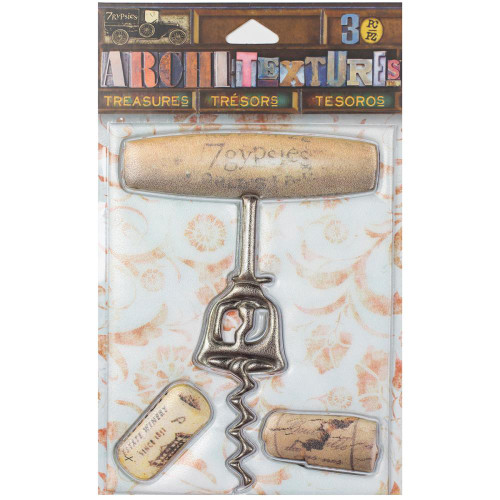 7 Gypsies Architextures Treasures Adhesive Embellishments - Wooden Handle Corkscrew