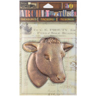 7 Gypsies Architextures Treasures Adhesive Embellishments - Cast Metal Cow Head