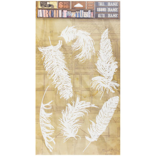 7 Gypsies Architextures Tall Base Adhesive Embellishments - Feathers