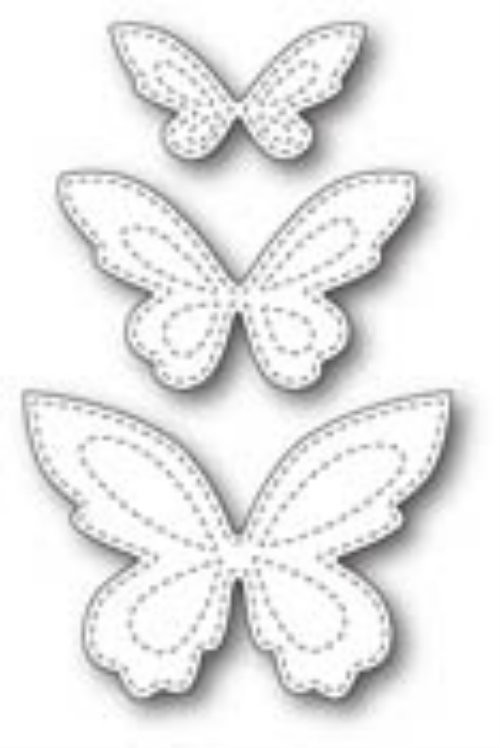 Poppystamps Craft Die - Stitched Butterfly Trio