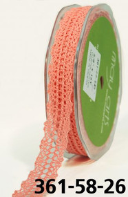 MAY ARTS CROCHET LACE TRIM 5/8 WATERMELON