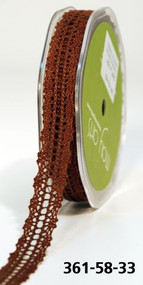 MAY ARTS CROCHET LACE TRIM 5/8 BROWN