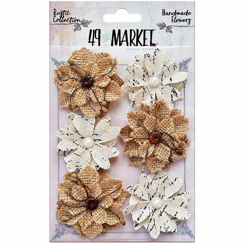 49 and Market - Rustic Canvas and Burlap Medium Blooms 6pcs