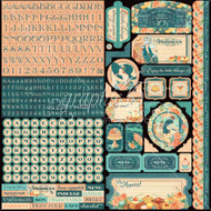 Graphic 45 - Café Parisian - 12 x 12 Cardstock Sticker Sheet