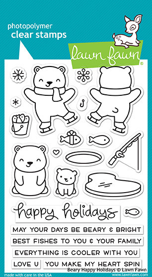 Lawn Fawn 4 x 6 Clear Stamp - Beary Happy Holidays (LF1470)
