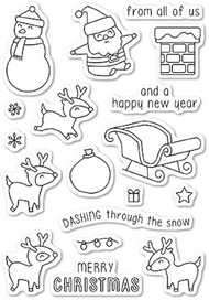 Memory Box - Dashing with Reindeer Clear Stamp Set
