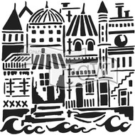 Crafters Workshop 6 x 6 Stencil - Floating City (TCW749)
