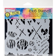 Crafters Workshop 6 x 6 Stencil - Graffiti Kisses (TCW752)