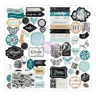 Prima Marketing - Zella Teal Self-Adhesive Chipboard W/Sequins (PM-595517)