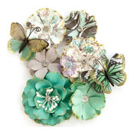 Prima Marketing - Zella Teal Flowers - Butterfly Kisses (ZTF 97153)