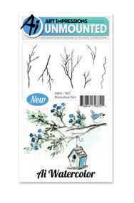 Art Impressions - Watercolor Cling Rubber Stamp - Branches Set