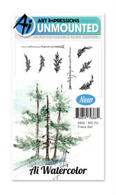 Art Impressions - Watercolor Cling Rubber Stamp - Fir Tree Set (AI4960)