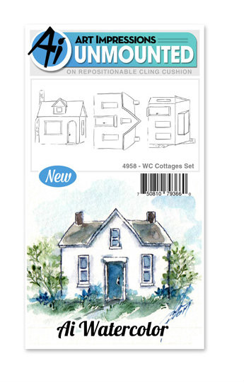 Art Impressions - Watercolor Cling Rubber Stamp - Cottages Set (AI4958)