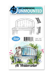 Art Impressions - Watercolor Cling Rubber Stamp - Bench Set (AI4965)