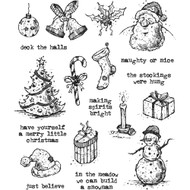 Tim Holtz Cling Rubber Stamp - Tattered Christmas (CMS318)