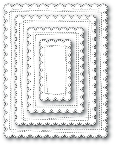 Memory Box Die - Wrapped Scalloped Rectangles Craft Die