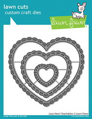 Lawn Fawn Lacy Heart Stackables Lawn Cuts (LF1562)