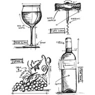 Tim Holtz Cling Rubber Stamp - Wine Blueprint (CMS333)