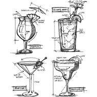 Tim Holtz Cling Rubber Stamp - Cocktails Blueprint (CMS335)