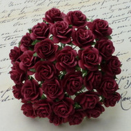 15mm Mulberry Open Roses Burgundy