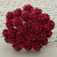 15mm Mulberry Open Roses Coral Red
