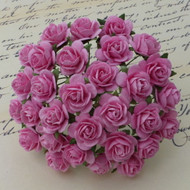 15mm Mulberry Open Roses Pink