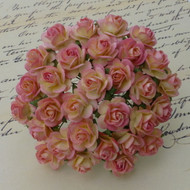 15mm Mulberry Open Roses 2-Tone Champagne Pink