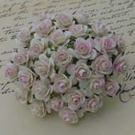 15mm Mulberry Open Roses 2-Tone Ivory/Pale Pink