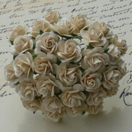 25mm Mulberry Open Roses Deep Ivory