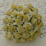25mm Mulberry Open Roses 2-Tone Yellow