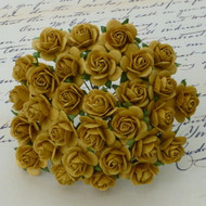 10mm Mulberry Open Roses Old Gold