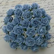 25mm Mulberry Open Roses Baby Blue