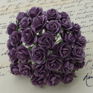 15mm Mulberry Open Roses Purple