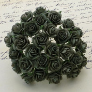 15mm Mulberry Open Roses Olive Green