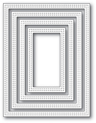 Poppystamp Die- Double Stitch Rectangle Frames Craft Die