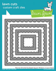 Lawn Fawn Reverse StitchedScalloped Square Windows Lawn Cuts
