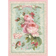 Stamperia - Rice Paper - Pink Christmas Rose