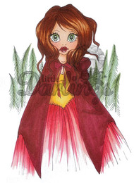 Saturated Canary RED RIDING HOOD Unmounted Rubber Stamp