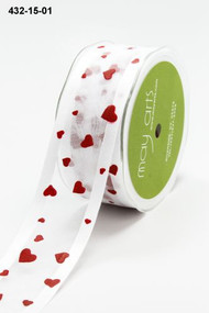 Sheer Satin Edge w/Hearts White/Red