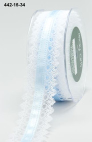 White Lace Blue Satin Center
