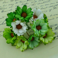 Wild Orchid Crafts Green/White Chrysanthemums