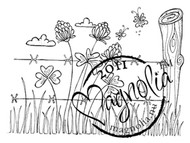 Magnolia Stamps - BARBED WIRE BACKGROUND Rubber Stamp