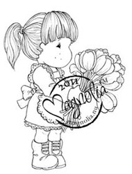 Magnolia Stamps - TILDA WITH ARMFUL OF TULIPS Rubber Stamp