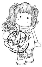 Magnolia Stamps - TILDA WITH FLOWER POT Rubber Stamp