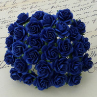 25mm Mulberry Open Roses - Royal Blue