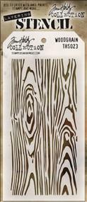 Tim Holtz layering stencil woodgrain