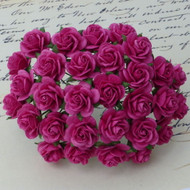 10mm Mulberry Open Roses Deep Pink
