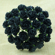 Wild Orchid Crafts 20 mm Jet Black Open Rose