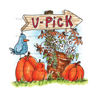 Whipper Snapper Designs - U Pick Farm Cling Mounted Rubber Stamp (MT835)