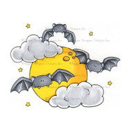 Whipper Snapper Designs - Batty Moon Cling Mounted Rubber Stamp (CY646)